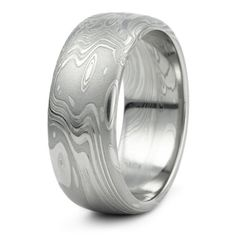 Damascus Steel Mens Wedding Band Amazing Organic Flowing Design Like Water Wind Waves or Clouds. Sophisticated and Masculine Handmade Ring