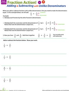 this worksheet is sure to help any child that needs practice adding and subtracting fractions with unlike denominators - Adding Fractions With Unlike Denominators Worksheet