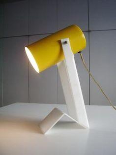 1960s Modernist Table Lamp in Enameled Steel + Folded Lucite