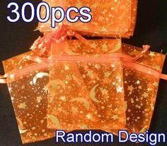 "300Pcs Orange Pattern Drawstring Organza Flare Wedding Gift Pouch Bag 2.7x3.5"""