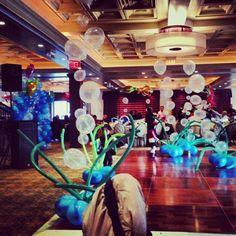 Under sea theme balloon decor from twins' 1st birthday