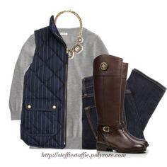 J.Crew navy pinstripe vest