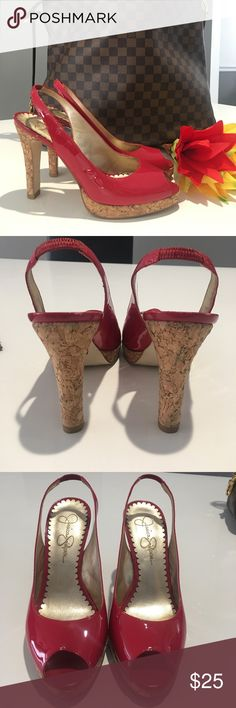Jessica Simpson Peep Toe Cork High Heel Sling Back Like new condition, Raspberry Red Patent Leather. Cork Heel. Jessica Simpson Jessica Simpson Shoes Heels