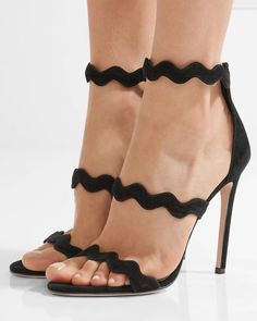 PRADA Scalloped suede sandals | Buy ➜ https://shoespost.com/prada-scalloped-suede-sandals/