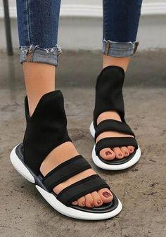5fc13565c67c56 Black Round Toe Cut Out Fashion Ankle Sandals