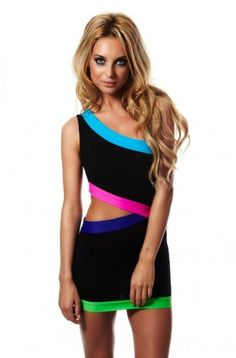 Saw Charlotte from Geordie Shore wearing this gorgeous Neon Diagonal Cutout Dress from Quontum