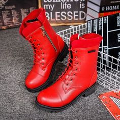 Red Black Punk Style Platform Martin Boots Lace Up Buckle Strap Cool Motorcycle Ankle Boots Woman Sexy