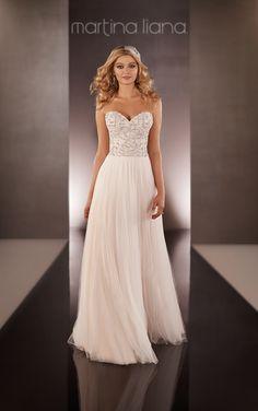 Silk Chiffon Sheath Wedding Dress | Martina Liana #MartinaLiana #WeddingDress