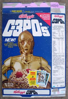 Kellogg's Star Wars C-3PO's Cereal (1984) Vintage Food Labels, Vintage Ads, Retro Recipes, Vintage Recipes, I Love My Grandma, Star Wars Masks, Ultimate Star Wars, Star Wars Stickers, Nerd Love