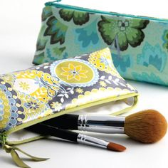 Laminated Cotton Embroidered Initial Cosmetic Brush Case