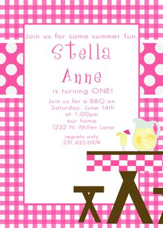 StellaAnne2Custom BBQ  or Picnic Birthday by andreagerigdesigns, $15.00