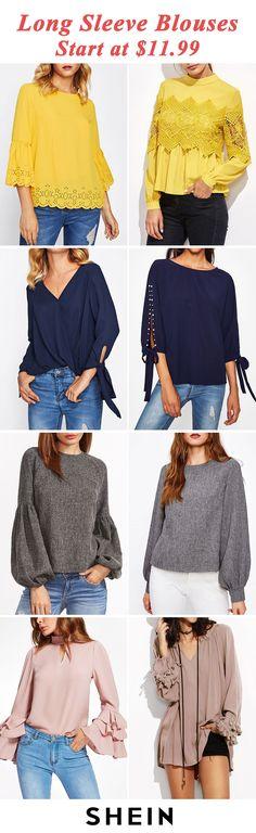 Long sleeve blouses start at $11.99!