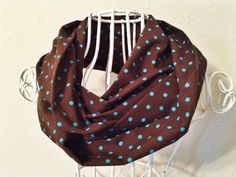 Brown with blue dots infinity scarf