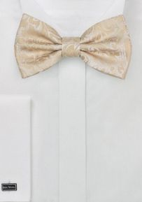 Champagne Bow Tie with Paisley Texture