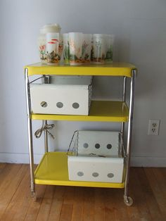Bright Yellow Metal Rolling Cart Tea Serving Office COSCO Table 1960s Electric $125