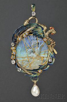 Art Nouveau pendant - carved opal inside the gold, enamel, pearl and diamond setting