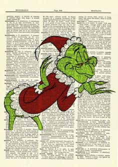 Dr-Seuss-How-the-Grinch-Stole-Christmas-Dictionary-Art-Print-Picture-Poster