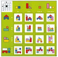 12 tableaux à double entrées pour développer le raisonnement logique et aborder d'autres notions : positions spatiales, numération, calculs, couleurs, formes géométriques… Très complet on peut utiliser ce jeu de manière didactique ou plus ludique. Contient 12 tableaux dim. 26,5 x 26,5 cm + 192 cartons de jeu (dim. 4,5 x 4,5 cm) + 2 dés. Dès 4 ans. Montessori Math, Preschool Learning Activities, Educational Activities, Fun Learning, Preschool Activities, Math Problem Solving, Visual Perception Activities, Toddler Learning Activities, Sight Word Games