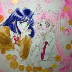 Chibi and hotaru #sailormoon #sailormooncrystal #美少女戰士 #美少女戰士セーラームーン #セーラームーン #fanart #illustration #イラスト #土萌螢