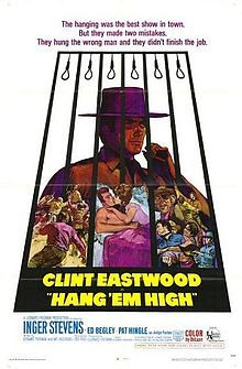 Hang 'Em High is a 1968 American Western film directed by Ted Post and produced and co-written by Leonard Freeman. It stars Clint Eastwood as Jed Cooper, an innocent man who survives a lynching, Inger Stevens as a widow who helps him, Ed Begley as the leader of the gang that lynched him, and Pat Hingle as the judge who hires Jed as a US Marshal.  Hang 'Em High was the first production of The Malpaso Company, Clint Eastwood's own production company.