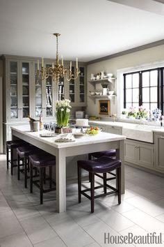 Kitchen Interior Design Remodeling French Country Style - French Country Interior Decor - Like a one-way ticket to Provence. Kitchen Cabinet Design, Interior Design Kitchen, Kitchen Cabinets, Kitchen Lamps, Kitchen Lighting, Room Interior, Kitchen Island, Country Interior Design, Glass Cabinets