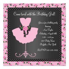 Pink Rose Ballerina Girls Ballerina Birthday Party Personalized Invitation