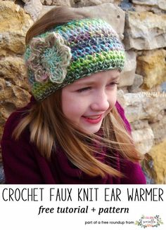 Crochet this easy faux knit flower ear warmer headband from Tangled Happy from my quick crochet gifts to make in under 1 hour free pattern roundup!
