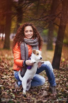 """""""Autumn portrait 2"""" ~ Photo by Chistov Gennadiy on 500px ~ A Jack Russell Dog is having his autumn portrait taken with his girl.  Next portrait...winter!"""
