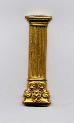 4 Large Greek Column Brass Metal Stampings