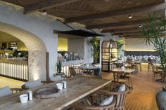 Mediterranean inspired Tashas cafe in South Africa. Design by BASS Interiors Photo David Ross Restaurant & Hospitality Brick Interior, Interior Photo, Deli Cafe, St Francis, Lounge, Restaurant, Patio, Table, Beach Club