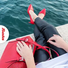 Fire up a cool look with matching red heels and purse. Red Heels, Personal Stylist, How To Look Better, Stylists, Purses, Bags, Handbags, Handbags, Red High Heels