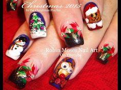 DIY Christmas Nail Art!   Xmas Candy Cane Nails Bows Design Tutorial - YouTube