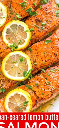 Pan Seared Salmon with Lemon Butter VIDEO - NatashasKitchen Pan Cooked Salmon, Salmon Recipe Pan, Seared Salmon Recipes, Pan Seared Salmon, Cooking Salmon, Recipes For Salmon Filets, Simple Salmon Recipe, Recipe Salmon Filet, Diet