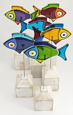 Colourful Fused Glass Fish  Full School by IlluminatiGlassworks, $379.00