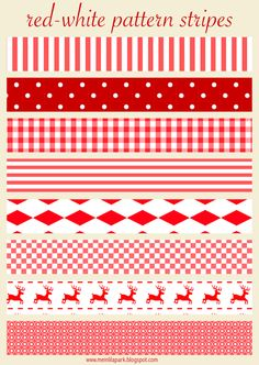 Free printable red and white Christmas scrapbooking stripes - ausdruckbare Schmuckpapier - freebie | MeinLilaPark – DIY printables and downloads