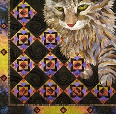 """I saw this quilt a few years ago at """"Road to California Quilt Show"""" Kitty Corner, x by Janet Fogg, at Janet Fogg Quilts. Quilt Stitching, Applique Quilts, Quilting Projects, Quilting Designs, Cat Quilt Patterns, Gatos Cats, Animal Quilts, Landscape Quilts, Cat Pattern"""