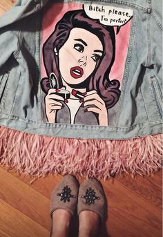 Denim jacket BITCH PLEASE, I'M PERFECT! of gently blue color. Hand painted in Pop Art style, decorated with detachable ostrich feathers high quality