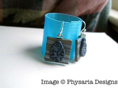 Earrings from polymer clay tiles.
