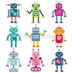 conjunto de robôs — Ilustração de Stock #12419761