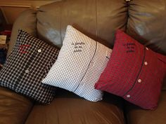 """""""La familia de mi padre"""" memory pillows made for my kids out of my fathers pajama tops for Christmas.  They were absolutely touched and loved them!"""
