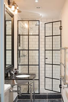 take standard shower doors and add lead flashing for crittal effect