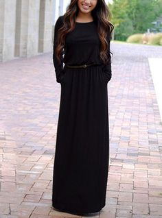 Women's Maxi Dress - Long Sleeves