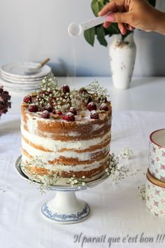 Discover our quick and easy recipe for Yoghurt Cake with Cook Expert on Current Cooking! Gateau Baby Shower, Baby Shower Cakes, Cake Decorated With Fruit, Nake Cake, Realistic Cakes, No Cook Desserts, Quick Easy Meals, Cupcake Cakes, Cupcakes