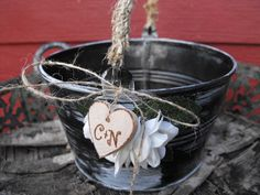 Flower Girl Basket Alternative Distressed Personalized Tin Bucket Rustic Woodland Outdoor Country Chic Wedding. $24.99, via Etsy.