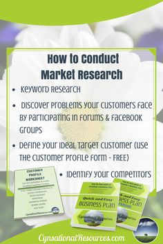 One of the biggest mistakes any business owner can make is to fail to understand their market. Before you start spending all your time and money dedicated to one target niche or product, you need to do some thorough market research. Click through to learn more with the Quick and Easy Business Plan and pick up the FREE Customer Profile Worksheet.