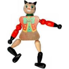 wooden jumping jack toy image | PINNACLE PEAK Cat Jumping Jack Toy / Wood Christmas Ornament at Sears ...