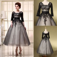 Tea-Length-Lace-Plus-Size-Prom-Dress-with-Sleeves-Tulle-Formal-Party-Gowns-Black