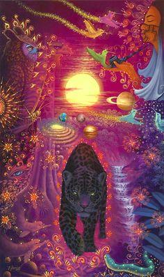 Original Hand Painted on Canvas XL Ayahuasca Art by Jorge Ramirez, student if Pablo Amaringo, Jungle Jorge Ramirez, Art Visionnaire, Collage Des Photos, Psychadelic Art, Jungle Art, Psy Art, Arte Sketchbook, Hippie Art, Dope Art