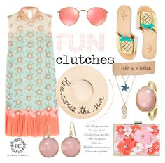 """""""Cute Clutches ~ Floral Coral"""" by alexandrazeres ❤ liked on Polyvore featuring Delpozo, New Look, Eugenia Kim, Kate Spade, Sugar NY and Ray-Ban"""
