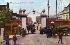 Main Gates, Portsmouth Dockyard Portsmouth Dockyard, Portsmouth England, Old Pictures, Old Photos, Hms Illustrious, Navy Day, Naval History, People Of Interest, Navy Ships